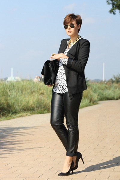 Sheinside blazer - OASAP bag - leather 3 suisses pants - Primark blouse
