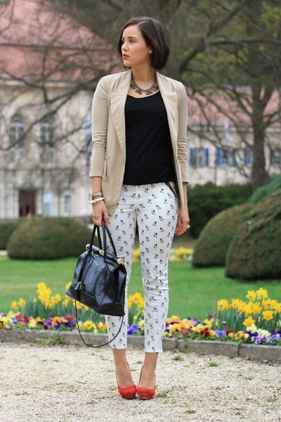 White Dog Printed Sheinside Pants, Beige Sheinside Blazers, Black ...