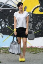yellow Lundberg shoes - silver romwe shirt - heather gray bag