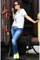 white shirt - blue jeans Miss Sixty pants - yellow flatforms Coolway sneakers