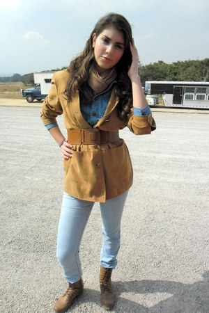 boots - coat - jeans - scarf - belt