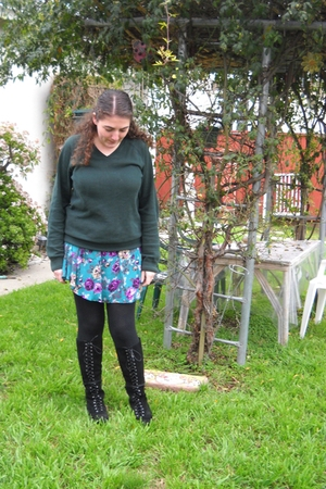 green Gap sweater - blue Urban Outfitters skirt - black unknown brand tights - b