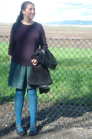 black Clarks shoes - blue TJ Maxx tights - green Gap skirt - purple Gap sweater