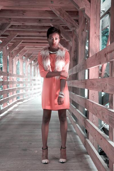 Faux feather vest vest - Bag dress dress