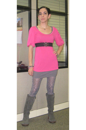 pink Old Navy shirt - gray Target dress - gray Betsey Johnson tights - gray Targ