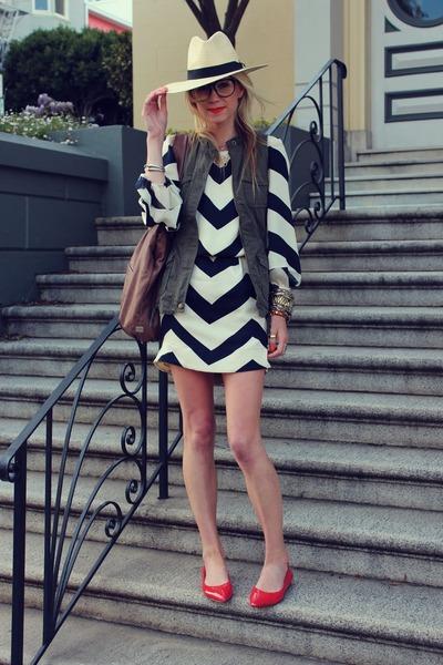 H&M hat - dvf dress - Kooba bag - Old Navy vest - BR flats