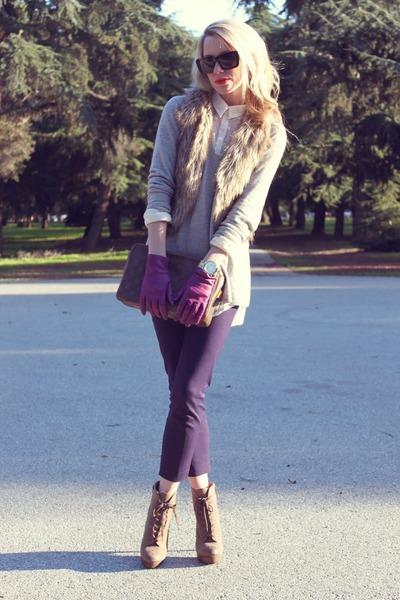 Luxury Rebel boots - vince sweater - Jcrew pants - H&M blouse - ae vest
