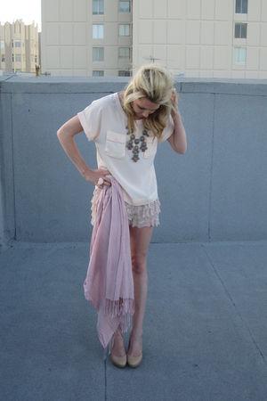 Zara shorts - H&M blouse - H&M scarf - banana republic shoes - Jcrew accessories