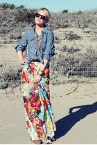 Gap blouse - Karen Walker sunglasses - dvf skirt