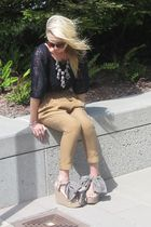 dvf blouse - Jcrew necklace - Zara pants