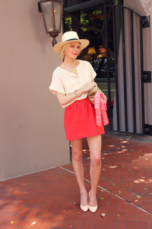 pour la victorie shoes - H&M hat - Lilly Pulitzer scarf - aa purse - H&M blouse