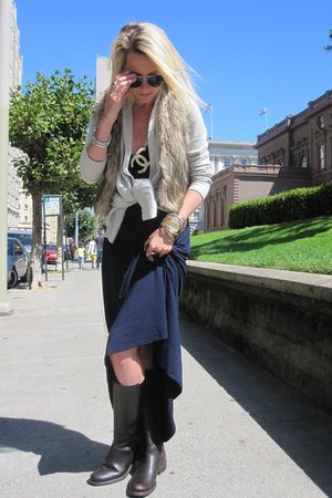 Burberry sunglasses - Jcrew boots - Jcrew dress - ae vest - Chanel necklace