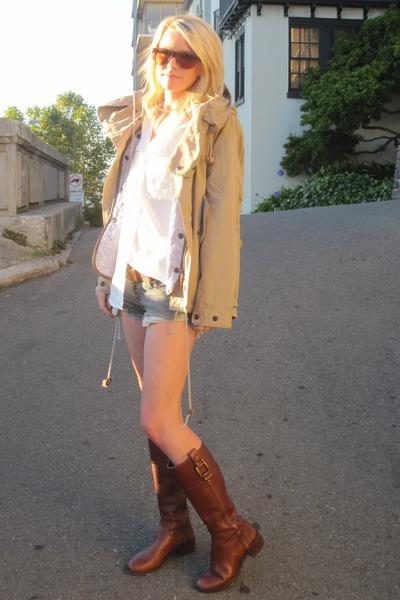 DIY 7 jean cut offs shorts - BR boots - Zara jacket - Gap blouse - dvf bracelet