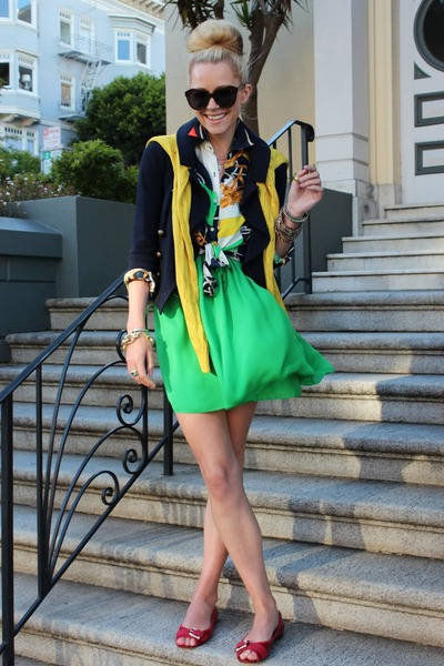 dvf jacket - Michael Kors flats - Halston Heritage skirt - RL blouse