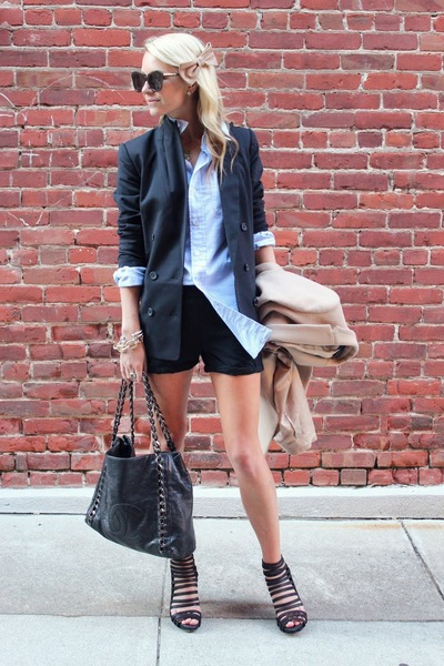 madewell blazer - Chanel bag - Alice  Olivia shorts - Karen Walker sunglasses