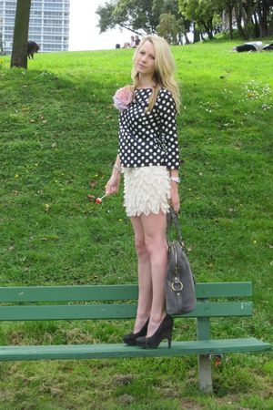 Dolce Vita shoes - YSL bag - Jcrew blouse - asos skirt - H&M flowers accessories