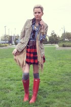 Hunter boots - Gap jacket - madewell socks - Crewcuts skirt - Gap blouse