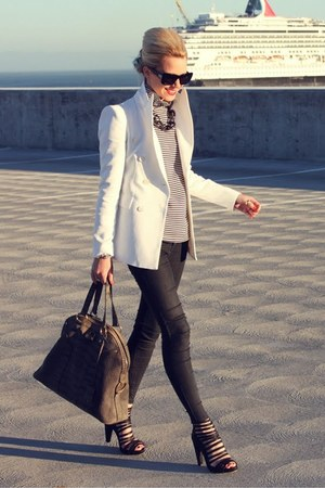 YSL bag - BDG jeans - Zara jacket - loeffler randall heels - Club Monaco blouse