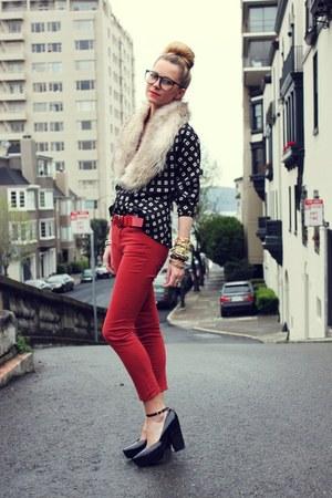 vintage blouse - H&M scarf - BDG pants - Jil Sander heels