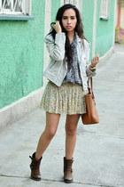 brown combat boots Gillio boots - heather gray biker Zara jacket