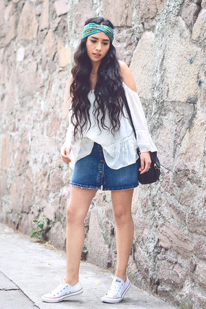 white hippie Zara blouse - navy denim Zara skirt