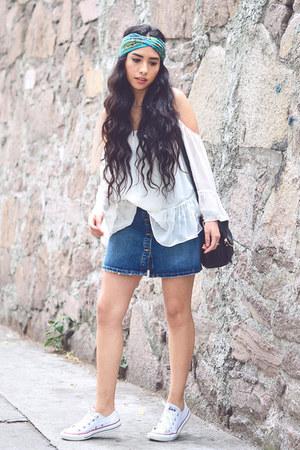 white hippie Zara blouse - navy denim Zara skirt
