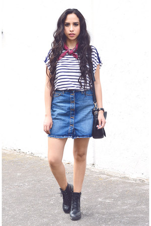 navy stripe Zara t-shirt - navy denim Zara skirt