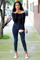 navy Zara jeans - black asos top - black Zara heels