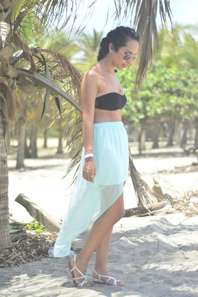 black crop top Bershka top - aquamarine Zara skirt - white Oysho sandals