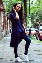 navy maxi Zara shirt - black jeans Zara jeans - white white Reebok sneakers