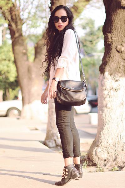 black leather pull&bear boots - white silk Mango shirt