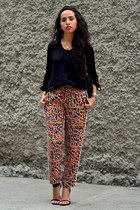black Massimo Dutti blouse - tawny Zara pants - black Zara heels