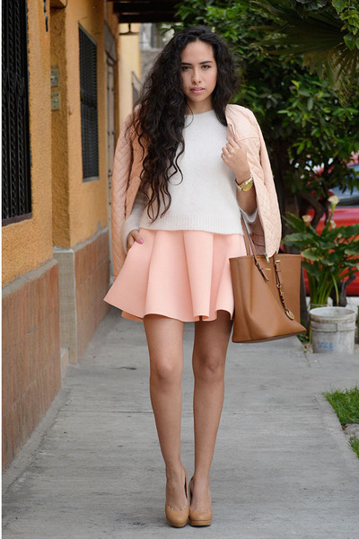 Light Pink Pink Pleated Skirt Skirt | Chictopia