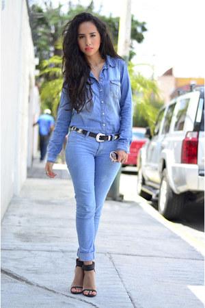 blue denim Bershka jeans - blue denim Zara blouse - black Zara heels