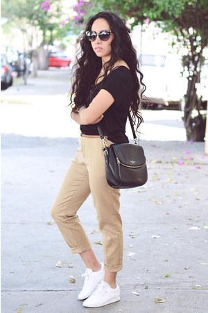black cross kate spade bag - black cotton H&M t-shirt - tan pants Zara pants