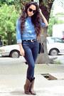 Dark-brown-western-pull-bear-boots-navy-denim-zara-jeans