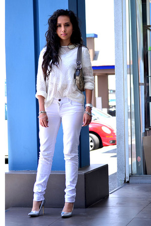 white pull&bear jeans - ivory lace Zara shirt - brown coach bag