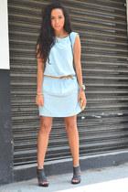 sky blue denim dress Zara dress - ivory polka dot Zara bag