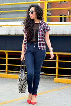 ruby red plaid shirt pull&bear blouse - navy skinny jeans Zara jeans