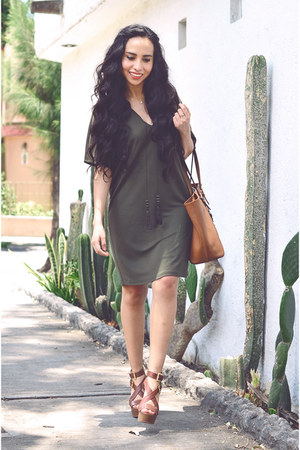 olive green romantic Mango dress