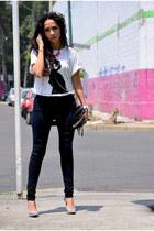 silver metallic Bershka heels - black leather Zara bag