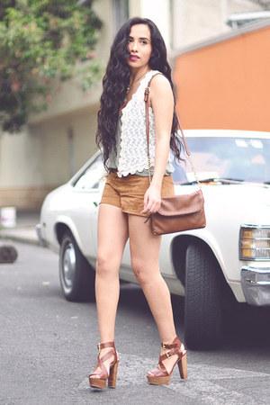 tawny suede Zara shorts - ivory crochet Zara vest