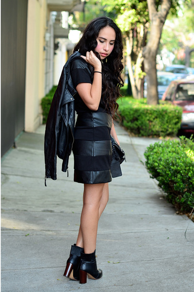 black leather Zara boots - black leather Choies dress