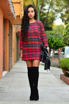 black ankle boots GoJane boots - brick red tartan Front Row Shop dress