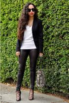black blazer Zara blazer - black leather asos leggings