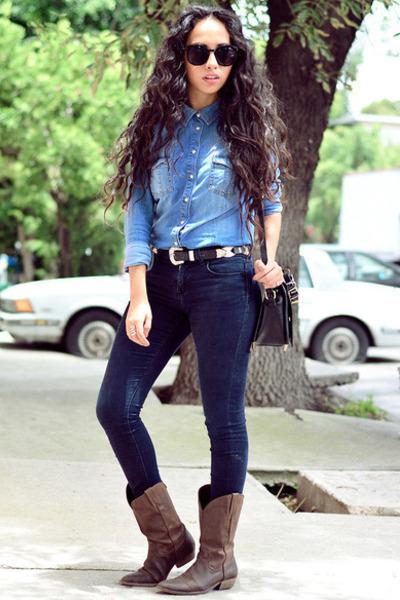 navy denim Zara jeans - dark brown western pull&bear boots