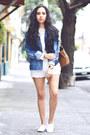 Navy-denim-levis-jacket-ivory-lace-oasap-shorts-white-white-asos-sneakers