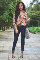 black black bag coach bag - navy skinny jeans pull&bear jeans
