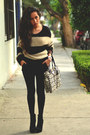 Black-ankle-boots-gojane-boots-black-knit-bershka-sweater-gray-coach-bag