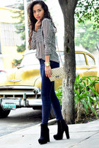 black GoJane boots - navy Zara jeans - eggshell dotted Zara bag